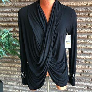 Karen Kane Black Draped Cowl Embellished Cuff Top